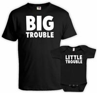 Big Trouble Little Trouble Matching Father Son Shirts Daddy And Me Outfits set
