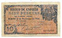 10 Pesetas 1936 Burgos  @ Muy Bello @
