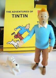 Tim und Struppi  ( Tintin ) Figur ca 19 cm stehend mit Struppi und Knochen