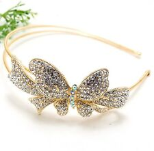 NEW Big Butterfly Gold Color Rhinestones Crystal High Quality Metal Headband B32