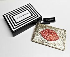 Lulu Guinness Gold Red Glitter Lips Small Pouch Purse New and Boxed