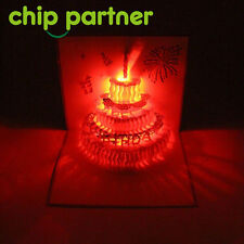 3D LED Music Pop Up Greeting Card Gift Birthday Invitaions Cake Light Creative