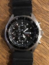 Men's Casio AMW-330 Black Dive Chronograph Analog Watch. New Battery