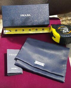 "Prada (Empty) Sunglasses Box (6.25"" X 2.75"" X 1.5"") w/Felt Lined Cloth Cover"
