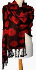 Poppy Pashmina Black Red Floral Wrap Ladies Poppies Shawl Oversized Flower Scarf