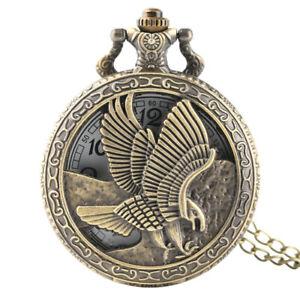 New Pocket Watch New Eagle Hawk Wing Neckalce Chain Vintage Unisex Gifts