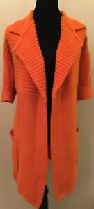 Doncaster Womens Open Front Cardigan Sweater Small Orange Lambswool Short Sleeve
