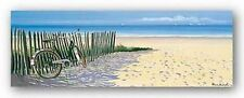 SEASCAPE ART PRINT Beach with Bicycle Henri Deuil
