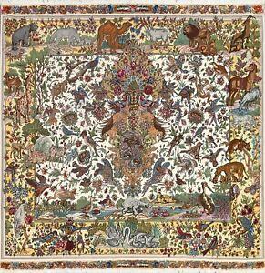 Wool/ Silk Tebriz Animal Design Area Rug Hand-knotted Oriental Carpet 6x6 Square