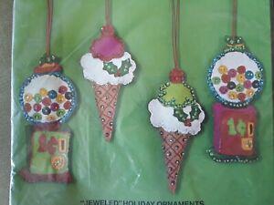 Vtg Bucilla Christmas Sweets Jeweled Ornaments Kit 2337 MCM '76 Gumball Rare