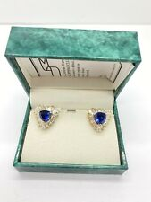 Suzanne Somers Gold Vermeil Sterling Silver 925 White + Dark Blue CZ Earrings