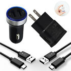 USB Wall Car Charger Type C Cable For Samsung Galaxy S10 S20 Note 20 10 A70 A80