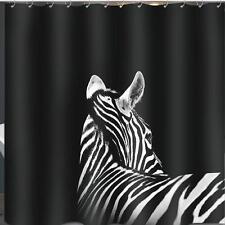 blanco y negro cebra Baño Cortina de ducha 180cm x 180cm poliéster Ganchos