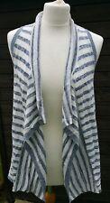 Ladies FAT FACE Waterfall Stripe Waistcoat - Size M - New Blue & White BNWOT