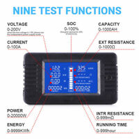 LCD Display DC Battery Monitor Meter Voltmeter Ammeter For RV Solar Car Reliable