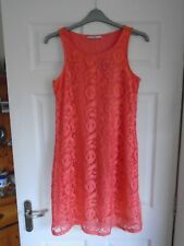 NEW £14 Coral/Pink floral lace overlay lined sleeve-less swing/flare dress UK 10