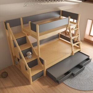 STOOG Classic Solid Wood Twin over Twin Bunk Bed, Twin over Twin