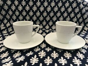 Set of 2 Nespresso Collection Logo White Porcelain 6 Ounce Cups & Saucers Mugs