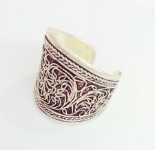 Old Tibet Silver carved flowers ring adjustable Openings ring gift
