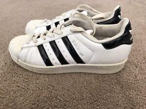 Adidas Superstar Ortholite Unisex Kids  White/black Leather Trainers Uk 3.5