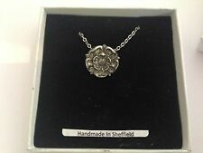 Tudor Rose RPIN english pewter 3D Platinum Necklace Handmade 18 INCH