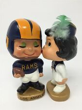 "1960'S LOS ANGELES RAMS ""KISSING PAIR"" BOBBING HEAD NODDER DOLLS W/BOX NEAR MINT"