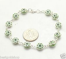 Green Color Filigree Swirl Evil Eye Bead Luck Bracelet Real 925 Sterling Silver