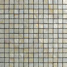 River Bed Natural Shell Mosaic Tiles - Mother of Pearl Square Cream