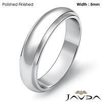 Wedding Band Women Solid Dome Step Down Ring 5mm 18k White Gold 6.4gm Sz 7-7.75