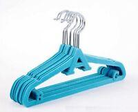 10x Childrens Kids Coat Hangers Non-Slip Velvet Ultra Slim & Space Saving BLUE