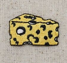 Iron On Embroidered Applique Patch - Small Wedge Yellow Swiss Cheese Food