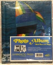 Vintage Pioneer Photo Album Rainbow Sail Boat Ocean 20 Magnetic Pgs Never Opened