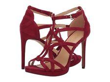 Michael Kors Sandra Maroon Red Suede Strappy Platform Heels Size 7.5
