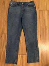 DOTTI Sz 12 Womens High Rise Light Blue Stretch Skinny Ankle Jeans Frayed Bottom