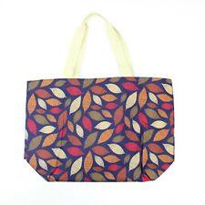Maxi Large Oversize Matt Oil Cloth Autumn Leaves Print Shopper Tote Beach Bag