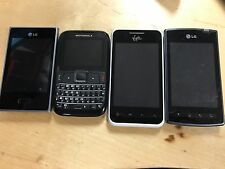 Lot of 4 Smartphones (LG AS695, VM696 L35G Motorola EX430) All working phones