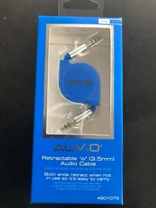AUVIO 3-Ft. Retractable 1/8 (3.5mm) Audio Cable Blue