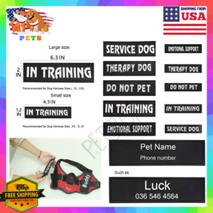 2 Custom Personalized Patches for Dog Vest Harnesses Pet Tag Small-Large-XL USA