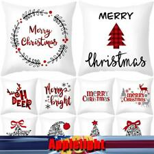 US 1-4 Pcs Christmas Soft Square Throw Pillow Cases Waist Cushion Cover Bed Pad