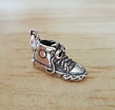 Sterling Silver 3D 17x8mm High Top Tennis Sneakers Shoe Charm