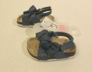The Children's Place Baby Girl's Bow Denim Sandals OS6 Blue Size 3-6 Months