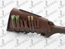 New Leather Combo Rifle/Shotgun Cartridge Holder Ammo Buttstock. Made in Europe.