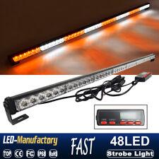 """47"""" 48 LED Flash Traffic Advisor Emergency Warning Strobe Light Bar Amber White"""
