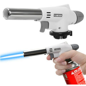 Portable Welding Strong Flame Soldering Trigger Ignition Butane Gas Torch WHITE
