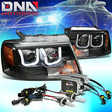BLACK U-HALO PROJECTOR HEADLIGHT+CORNER+LED DRL+6000K HID KIT FIT 04-08 F150