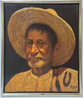 JORGE LEGUIZAMO Vintage Original Oil Portrait Mexican Old Man Artist COA Signed