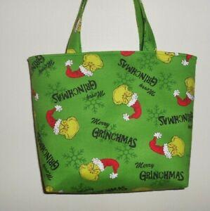 Handmade Christmas Merry Grinchmas Seuss Grinch Green Background Tote Purse Bag