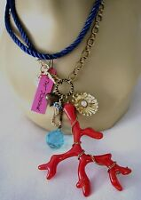 BETSEY JOHNSON~SEA EXCURSION~CORAL PENDANT SEAHORSE~SHELL~CHARM NECKLACE~RARE