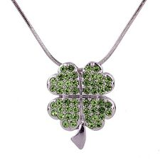 """Necklace - Sparkling Crystal - 18"""" Chain Green Irish 4 Leaf Clover Charm Pendant"""