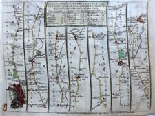 ROAD MAP BY JOHN SENEX c1757  LONDON BUCKINGHAM  MIDDLESEX  BANBURY STRATFORD